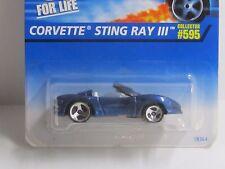 Hot Wheels HTF Blue CORVETTE STINGRAY III W/White interior on Card #595