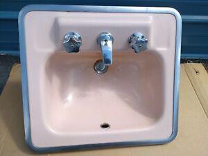 Vintage 1960s Kohler Bathroom Sink. Wild Rose Color.MCM.Original Chrome fixtures