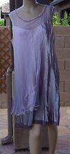 KOMAROV Embellished Layered Charmeuse & Chiffon Dress (size PL)