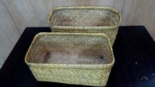 ANTIQUE WOVEN CANE TRAVEL CHEST MOSES BASKET VINTAGE CAR CHEST STORAGE CASE #4