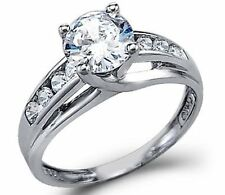 14K White Gold Round Solitaire Engagement Ring, 1.5ct