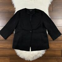 Eileen Fisher Women's Size Large Ribbed Textured Black One Button Jacket Blazer