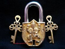 BRASS FINE HEAVY BEAUTIFUL CARVING HINDU GOD GANESHA BRASS PAD LOCK & 2 KEYS