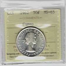 Canada  1962 CAMEO  50 Cents Silver Coin  Certified ICCS MS-65  XLF 650