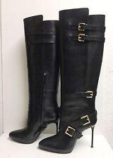 Roberto Cavalli Black Leather Knee High Tall Belt Heels Boots Shoes 39 $1560