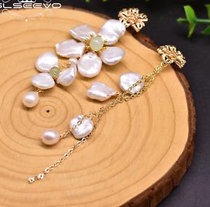 Earrings clip on pierced handmade XL authentic baroque pearl 14mm-18mm sterling silver hooks