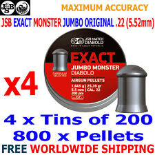 JSB EXACT MONSTER JUMBO ORIGINAL .22 5.52mm Airgun Pellets 4(tins)x200pcs
