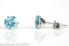 9ct White Gold 5mm Swiss Blue Topaz Stud earrings Made in UK