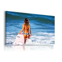SURF GIRL OCEAN BEACH View Canvas Wall Art Picture Large SIZES  L269 MATAGA .