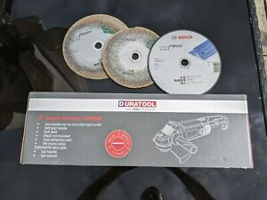 """9 inch Angle Grinder 240v - Used once, with discs - Duratool 2000W 230mm / 9"""""""