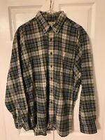 LL Bean LS Flannel Cotton Shirt Plaid Button Up Vtg Mens LARGE Outdoors Trucker