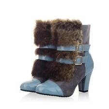 Womens Retro Strappy Buckle Winter Fur Furry Chunky Heel Casual Snow Ankle Boots