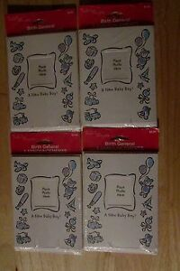 Baby Boy Birth General Announcements lot of 4 NIP 4 each pkg Holds photo