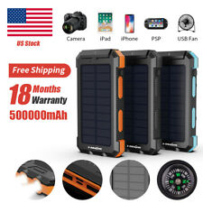 500000mAh Solar Power Bank 2 USB LED Type-C Waterproof Portable Battery Charger