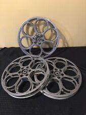 """3 Vintage 14"""" Goldberg Bros Movie Film Theater Reel Cast Aluminum 1 7/8"""" 6 Hole"""