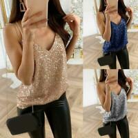 Women Sequin V Neck Sleeveless Strappy Vest Top Summer Clubwear Cami Shirt