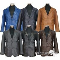 Blazer leather jacket Suit style Single breasted Cut lapel Gents Coat for Men
