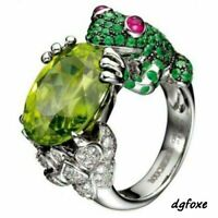 Women's 925 Silver Plated Vintag green zircon Ring Wedding Engagement Frog Ring