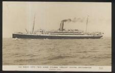 REAL PHOTO Postcard R.M.S.P. STEAMER AMAZON at SOUTHAMPTON Promo Ad 1910's