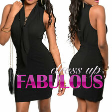 SLEEVELESS V NECK MINI DRESS SIZE M SEXY PARTY EVENING WEAR XS S 2 4 6 8 10