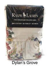 Rare Ralph Lauren Dylans Grove Standard 2 Pillowcases Roses Flags Americana New
