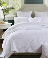 Crystal White 100% Cotton Coverlet Bedspread Comforter Bedcover Set 3pcs - Q/K
