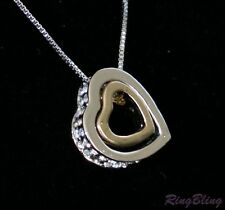 REDUCED! Gold & Silver Plated Crystal Paved Heart Pendant Necklace! 70% OFF!