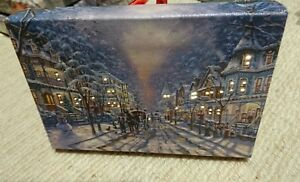 Small Festive Christmas Light up LED Canvas/snowy scene. Perfect for mantelpiece