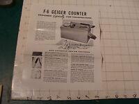 original Vintage 1955  ad sheet: F-6 GEIGER COUNTER
