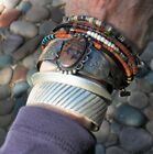 Vintage Fred Harvey Era Stamped Birds Coin Silver Petrified Wood Cuff Bracelet