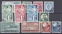 Franz. Zone Baden Mi.Nr. 46-57 aus 1949 gestempelt (30302)