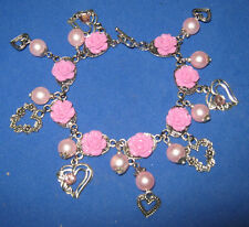 """""""HEARTS & ROSES""""- HANDCRAFTED  CHARM BRACELET-PINK & SILVER"""