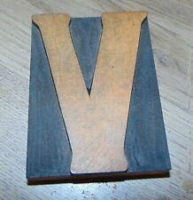 Wood Letter V Letterpress Printer Cut Wood Type 3 316 X 4 18