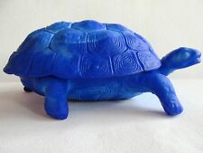 BOHEMIAN LAPIS LAZULI GLASS TRINKET/JEWELRY BOX TURTLE ART-DECO SCHLEVOGT INGRID