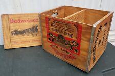 RARE VINTAGE WOOD CRATE BUDWEISER BEER ANHEUSER-BUSCH LP RECORD CASE HOLDER Sign