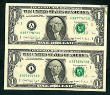 USA (P480b) 1 Dollar 1988A Uncutted Sheet 2 Banknotes XF