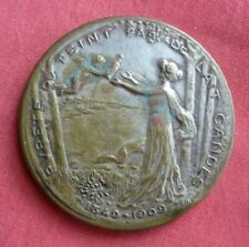 VINTAGE FRENCH METAL ADVERTISING POCKET MIRROR 1909 LAIT CANDES COSMETIC MILK