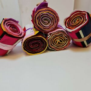10 PLAIN SOLID COLOURS JELLY ROLL HONEY BUN STRIPS 100% COTTON PATCHWORK FABRIC
