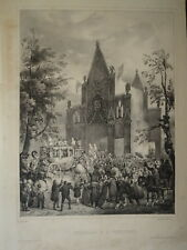 Victor ADAM (1801-1866) GRANDE LITHO SCENE SACRE CHARLES X TINQUEUX MARNE 1830
