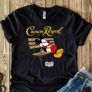 Mickey Mouse Drink Crown Royal Shirt Unisex Men Women Cotton Black Size S- 5 XL