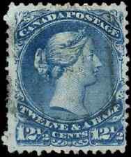 Canada #28ii used F 1868 Queen Victoria 12 1/2c blue Large Queen no Frameline