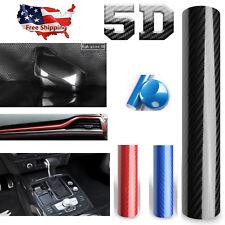 """US SHIP 12x60"""" 5D Carbon Fiber Vinyl Car Wrap Sheet Roll Film Sticker Decal HST"""