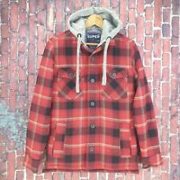 Superdry Red Black Grey Zip-Up Plaid Lumberjack Hooded Shirt Padded Warm S New
