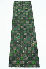 Orient Tapis Patchwork Vintage vert boue 310x80 Used Look handmade 167112