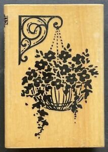 Hanging Flower Basket Spring Summer Blooms Wood Rubber Stamp