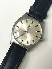 Omega Original 24 Jewels 1969 Automatic Geneve Cal. 552 Black Leather Band Watch