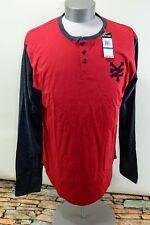 Zoo York Mens Long Sleeve 3 Button Shirt Red