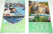 "Cardinal 500 Piece Jigsaw Puzzles. ""Lot of 2"" Sailboat Village and Italy"