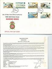 1983 Isle of Man FDC & Insert Marine Birds Set of 6 to 11p FDI 15-2-1983 Douglas