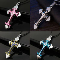 Vintage Men's Women's Stainless Steel Cross Necklace Pendant Chain Jewelry Gift